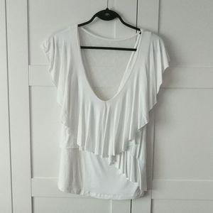 ❄️ 3/$25 LADY DUTCH White Shirt w/ Ruffle and Mesh